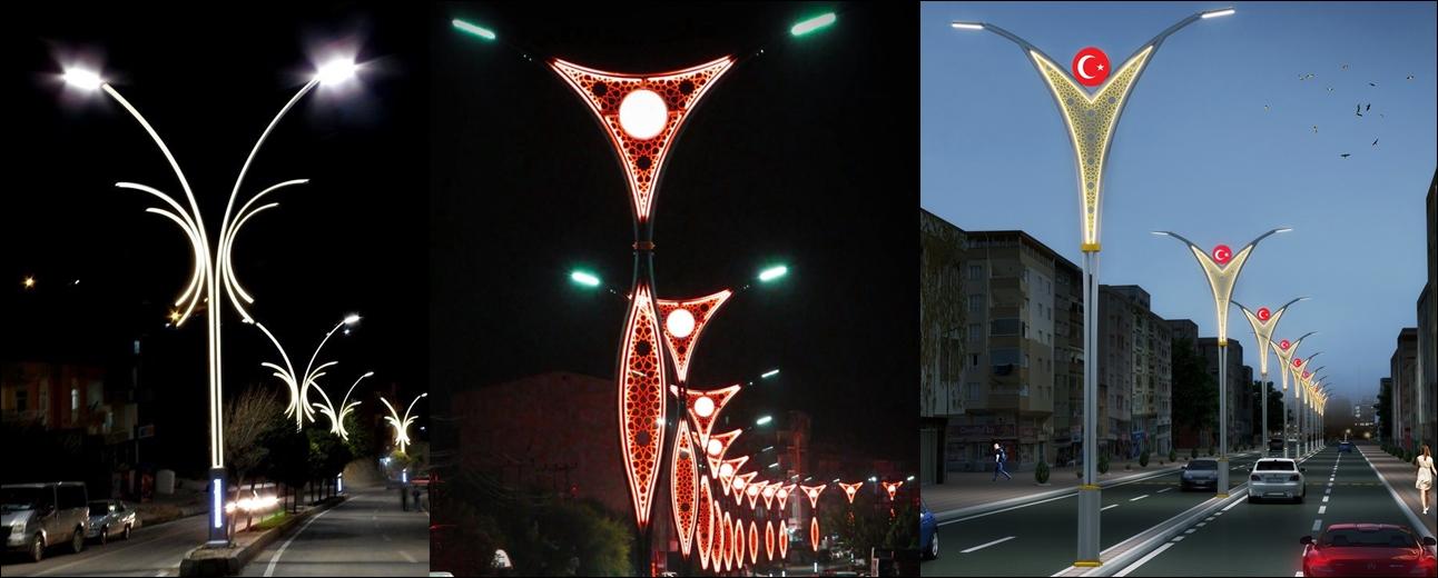 dekoratif ledli aydınlatma direkleri