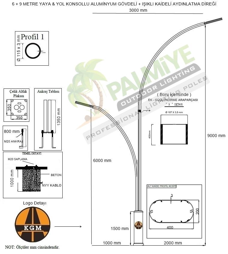 kaldırım aydınlatma direği teknik çizimi