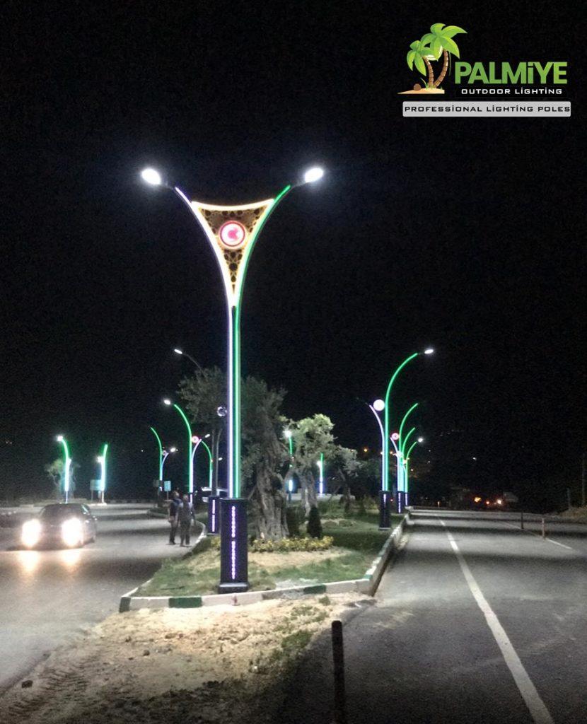 Altınözü belediyesi ledli ve logolu aydınlatma direkleri