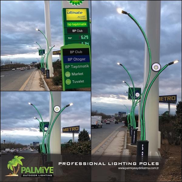 BP akaryakıt istasyonu aydınlatma direkleri